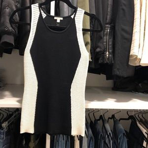 Black and white knit sleeveless top